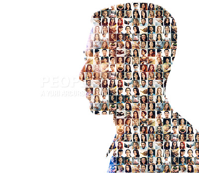 Buy stock photo Composite image of a diverse group of people superimposed on a man's profile