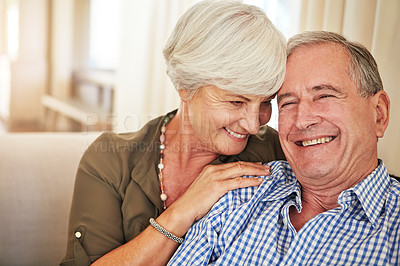 Buy stock photo Cropped shot of a senior couple at home