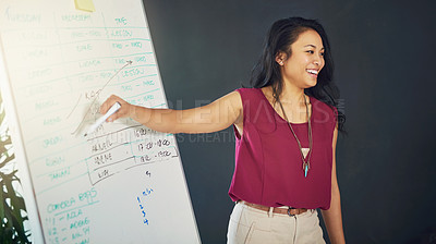 Buy stock photo Cropped shot of a young businesswoman giving a presentation in an office