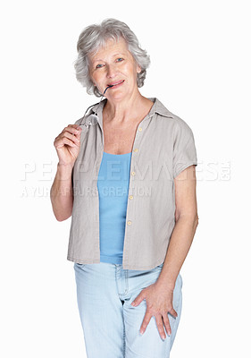 Buy stock photo Portrait of a happy senior woman holding glasses isolated against white