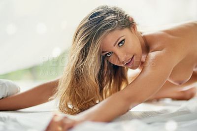 Buy stock photo Shot of a sexy young woman in the nude at home