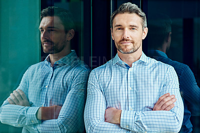 Buy stock photo Portrait of a successful businessman at work