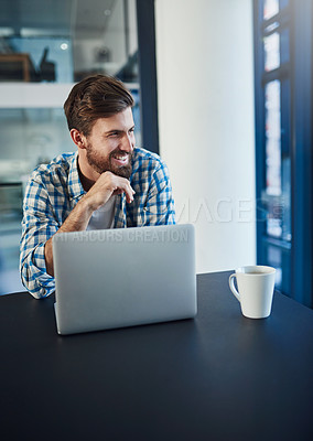 Buy stock photo Cropped shot of young a designer working on a laptop in a modern office