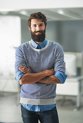 Buy stock photo Portrait of a creative businessman standing in his office