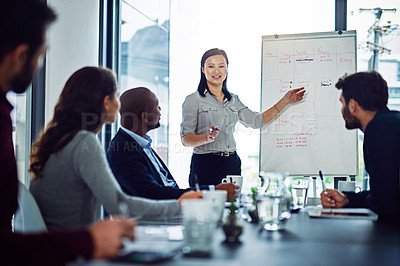 Buy stock photo Shot of a businesswoman giving a presentation to coworkers in the boardroom
