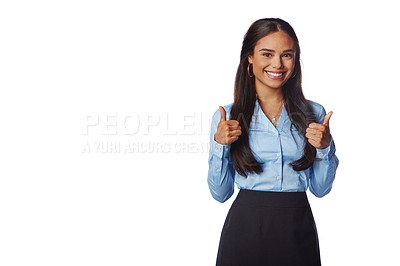 Buy stock photo Studio portrait of a confident young businesswoman giving a thumbs up gesture against a white background