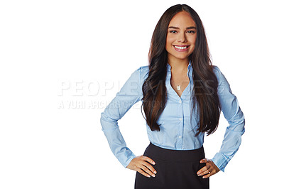 Buy stock photo Studio portrait of a confident young businesswoman posing against a white background