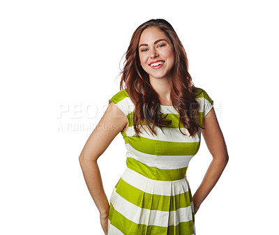 Buy stock photo Studio portrait of a young woman posing against a white background