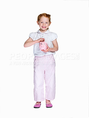 Buy stock photo Full length of a little girl with piggybank isolated against white