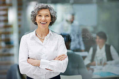 Buy stock photo Portrait of a mature businesswoman standing in an office with colleagues in the background