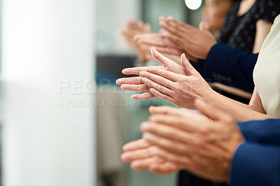 Buy stock photo Cropped shot of a diverse group of unidentifiable businesspeople applauding