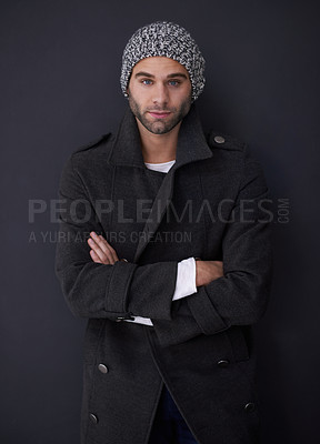 Buy stock photo Cropped portrait of a stylish young man posing in the studio