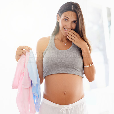 Buy stock photo Shot of a pregnant woman holding a pink and blue onesie
