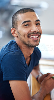 Buy stock photo Portrait of a young designer at work in an office