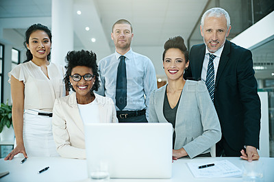 Buy stock photo Portrait of a group of businesspeople working together