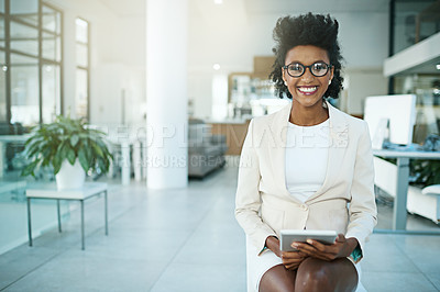 Buy stock photo Portrait of a happy businesswoman sitting in the office