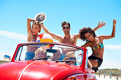 Buy stock photo Portrait of a group of friends on a road trip to the beach