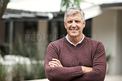 Buy stock photo Cropped shot of a mature man standing outside