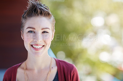 Buy stock photo Portrait of an attractive young businesswoman standing on her office balcony