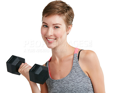 Buy stock photo Studio portrait of a fit young woman working out with dumbbells against a white background