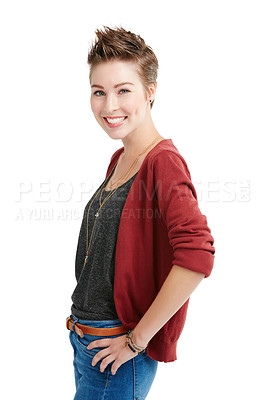 Buy stock photo Studio portrait of a confident young woman posing against a white background