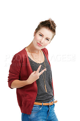 Buy stock photo Studio portrait of a young woman showing the v sign against a white background