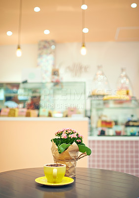 Buy stock photo Shot of a table in an empty cake shop