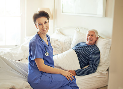 Buy stock photo Portrait of a female carer and her patient in a nursing home