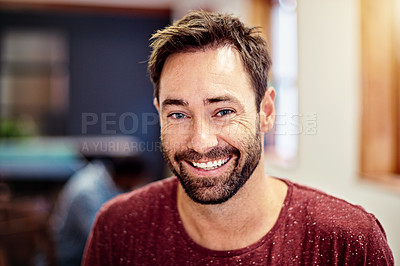 Buy stock photo Portrait of a smiling man standing in an office