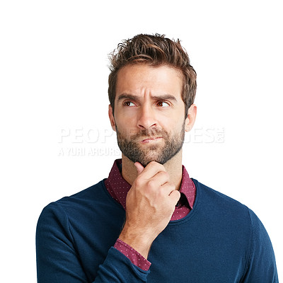 Buy stock photo Studio shot of a man looking unsure against a white background