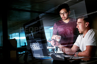 Buy stock photo Cropped shot of computer programmers working on new code