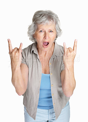 Buy stock photo Portrait of a cheerful mature woman in funky hand gesture isolated against white