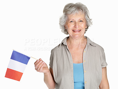 Buy stock photo Portrait of a happy mature woman holding a flag of France against white