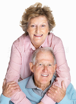 Buy stock photo Portrait of a happy senior woman embracing mature man from back isolated against white