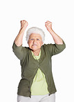 Furious mature woman in angry gesture isolated against white