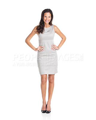 Buy stock photo Full length portrait of a confident young female standing on white background