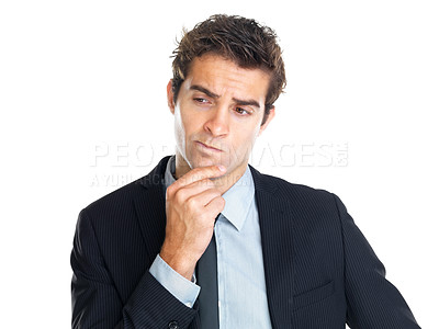 Buy stock photo Portrait of handsome young thoughtful businessman isolated over white background