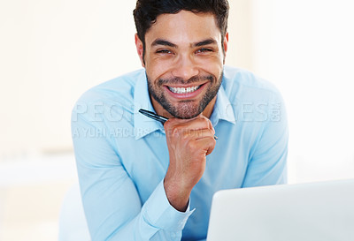 Buy stock photo Portrait of happy business man smiling with hand on chin