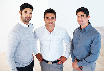 Buy stock photo Portrait of male leader with his supporting team