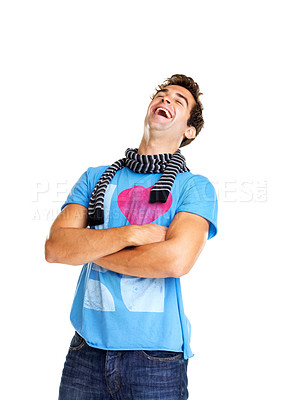 Buy stock photo Stylish young man with hands folded laughing against white background