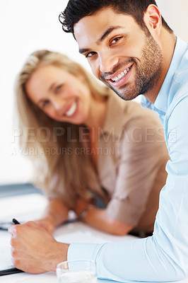 Buy stock photo Portrait of business partners smiling and looking at you