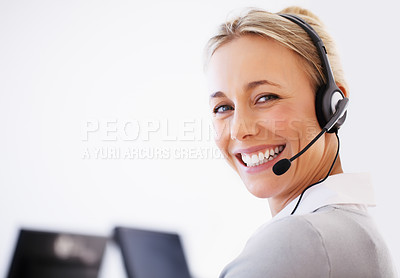 Buy stock photo Closeup of beautiful customer executive wearing headset and smiling - copyspace