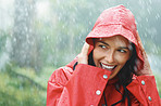 Woman smiling while out in rain