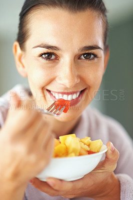 Buy stock photo Happy woman with bowl of fruit