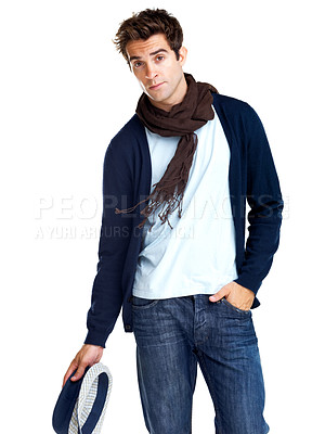 Buy stock photo Portrait of a trendy young male posing against a white background
