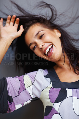 Buy stock photo Beautiful young woman dancing