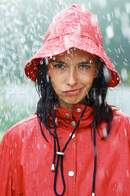 Buy stock photo Closeup portrait of pretty woman in rain making funny face