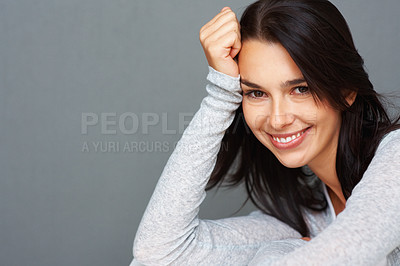 Buy stock photo Closeup portrait of charming young woman looking relaxed - copyspace