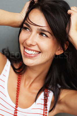 Buy stock photo Closeup portrait of happy woman smiling with hand on head