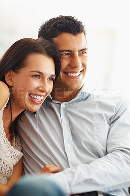 Buy stock photo Portrait of cheerful young couple spending time together